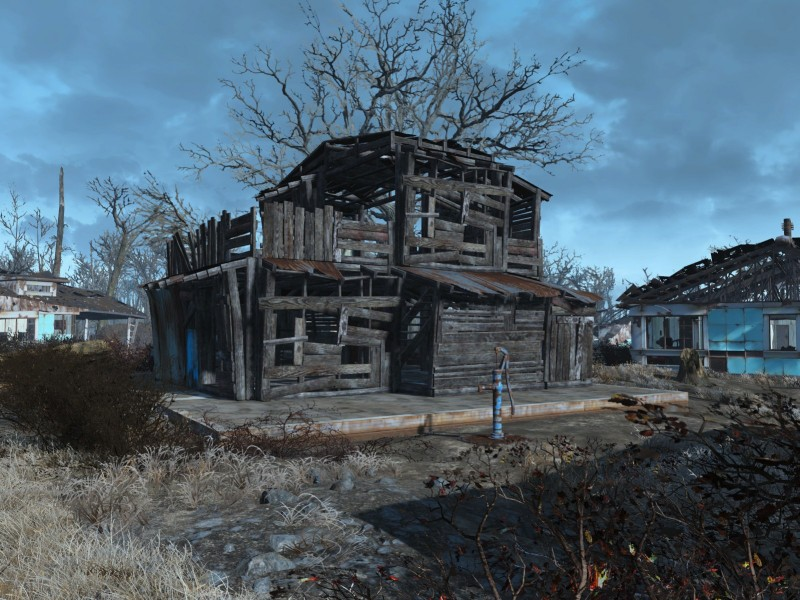 Haus mit Pumpe